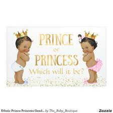 ethnic prince princess gender reveal baby shower banner baby