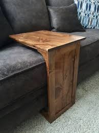 Diy Wooden Bedside Table by The Handmade Sofa End Table With Side Storage Slot Make The Shelf