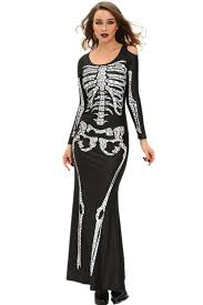 Skeleton Woman Halloween Costume Wholesale Cheap Long Skeleton Dress Halloween Costume