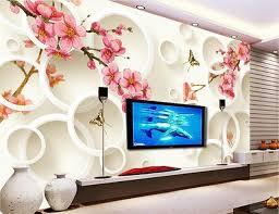 wallpaper bunga lingkaran kustom 3d mural wallpaper bunga persik plum lingkaran mewah