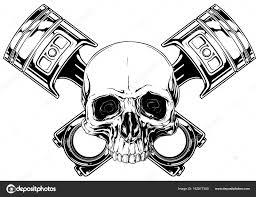 graphic human skull with crossed car piston vector u2014 stock vector