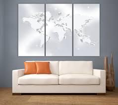 3 panel split silver color art 3d world map canvas print