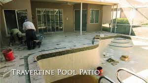 Pool Patios And Porches How To Install Travertine Paved Pool Patio And Travertine Pool