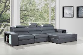 Mini Sectional Sofas Mini Contemporary Grey Bonded Leather Sectional Sofa