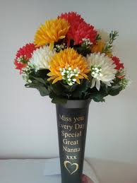personalised grave vase spike design with flowers memorial