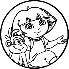 dora cartoon monkey oval sweet cute coloring page wecoloringpage