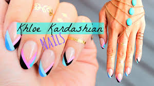 khloe kardashian inspired nails easy triangle french tip youtube