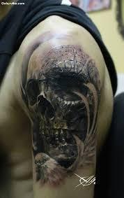 scary 3d skull design on s arm photos and ideas