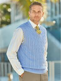 Light Blue Vest Light Blue Cotton Cable V Neck Pullover Vest Paul Fredrick