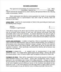 sample retainer agreement 6 example format