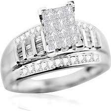 Gold Wedding Ring Sets by Princess Cut Wedding Ring 3 Piece Set 1ct Real Diamonds White Gold