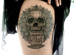 skull mandala and tea cup done by nate barnes euphoria tattoos
