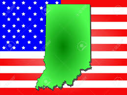 Maps Of Indiana Map Of The State Of Indiana And American Flag Stock Photo Picture