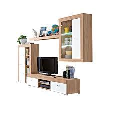 Schrankwand Wohnzimmer Modern Wohnwand Weiß Sonoma Eiche