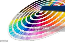 full rainbow of paint color chart fan deck stock photo getty images