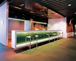 creative long counter bar design and cool metal chairs decoration