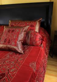 Red Duvet Set Ornamental Embroidered 7 Piece Duvet Cover Set Banarsi Designs