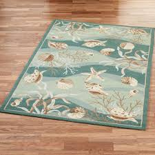 Brown And Turquoise Area Rugs Seashells Hand Hooked Area Rugs