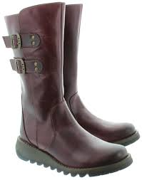 boots uk fly fly suli buckle calf boots in purple in purple
