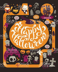 Halloween Graphic Design by Halloween Party Design Template Fairy Map Location Stock Vector
