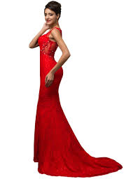red mermaid evening dresses lace elegant 2017 grace karin