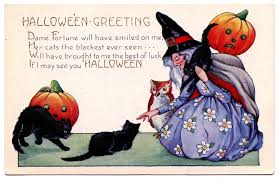 vintage halloween image witch cats owl the graphics fairy