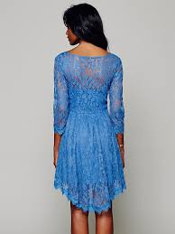free people womens floral mesh lace dress in blue lyst