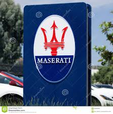 maserati trident logo maserati dealership sign and logo editorial photography image