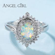 opal rings images Angel girl 925 sterling silver 0 78ct opal rings female oval jpg