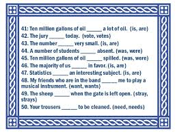 exercises on subject verb agreement
