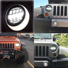 round led lights for jeep tj jk jeep wrangler 7 round led headlights and fog lights