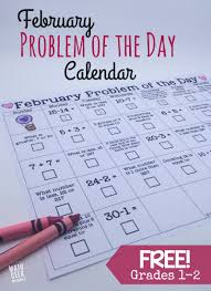 grade 1 math problems february math problem of the day calendar free