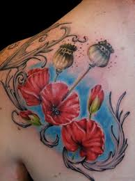 60 well formed poppy tattoos on back