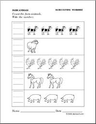 worksheet farm animals write the number preschool primary