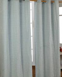 cotton gingham check blue ready made eyelet curtains homescapes