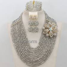 african crystal beads necklace images Handmade silver crystal women necklaces costume jewellery nigerian jpg