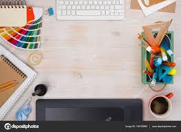Designer Desk by Graphic Designer Desk Essentials Top View With Wooden Texture