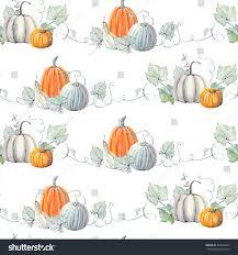 watercolor pumpkins seamless pattern thanksgiving stock
