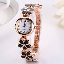 bracelet wrist watches images Fashion dress watch women flower lady round quartz analog bracelet jpg