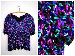 purple blouse plus size vtg sequin trophy plus size top bright pink purple blue green
