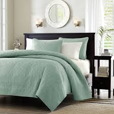 Cotton Quilted Bedspread Full Queen Seafoam Blue Green Quilted Coverlet Quilt Set With 2