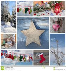 christmas winter collage in blue and red country style royalty