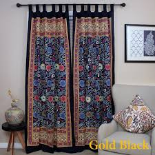 Navy Blue Door Handmade 100 Cotton Sunflower Floral Tab Top Curtain Drape Door