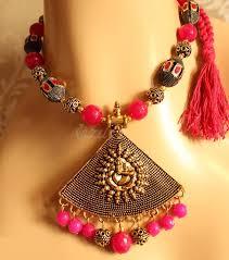 antique necklace images Antique gold ganesh pendant dark pink ganesh jewellery set at jpg