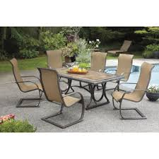 Agio Panorama Patio Furniture Costco Sling C Spring 7 Piece Dining Set Porcelain Table Top