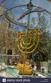 jerusalem menorah golden menorah recreated in the city jerusalem israel stock