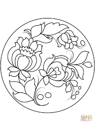 petrykivka painting plate coloring free printable coloring