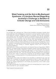 wind farming and the not in my backyard syndrome a literature