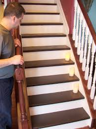 How To Install Laminate Wood Flooring On Stairs Remodelaholic Under 100 Carpeted Stair To Wooden Tread Makeover Diy