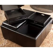 harley leather black 4 tray top storage ottoman great deal